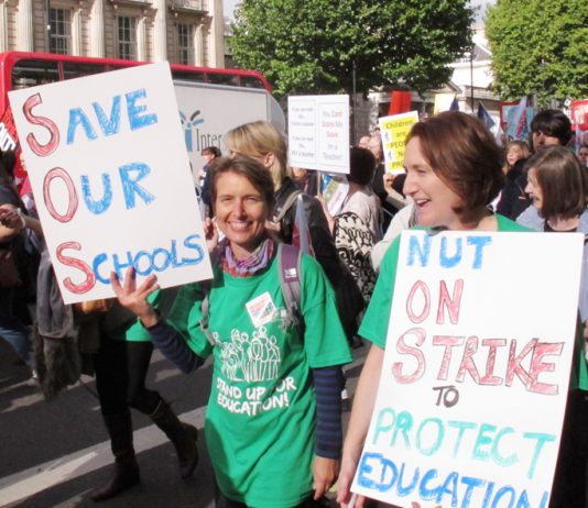 Teachers marching to protect education from Gove and the Tory vandals during their last strike on October 17