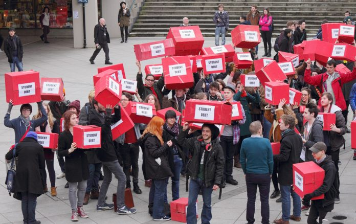 Students at the University of East Anglia in Norwich demonstrating against the burden of student debt