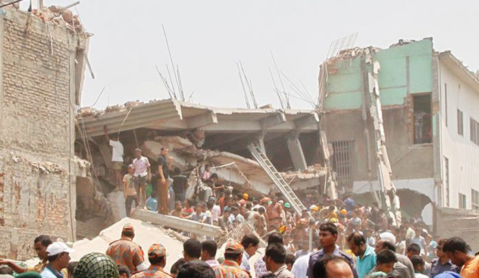 The Rana Plaza site which collapsed killing 1,129 people