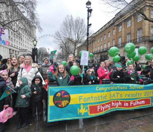 A section of the over 200-strong lobby of Downing Street by parents, pupils and teachers of Sulivan Primary School demanding that their excellent school stay open and not be demolished for a free school