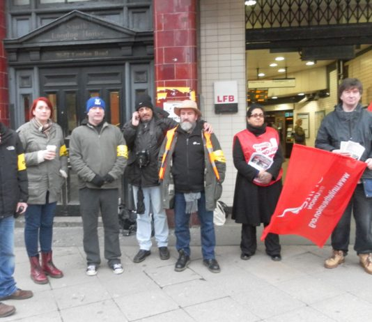 A  strong picket line at the Elephant and Castle Tube during the first 48-hour strike by the RMT and TSSA