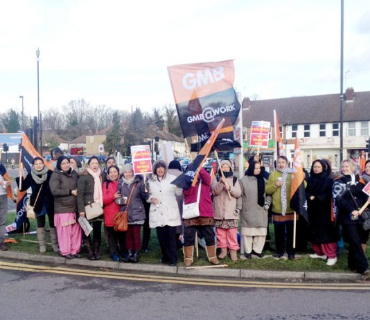 Mass picket yesterday morning outside Ealing Hospital