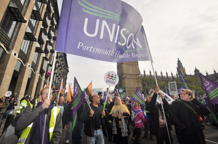 Hampshire Unison members marching against the government's austerity cuts