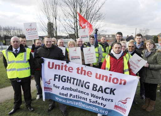 Yorkshire ambulance workers in the Unite union striking to defend patient safety