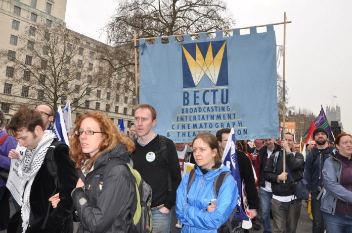 BECTU members on a demonstration. Private production companies are exploiting documentary makers