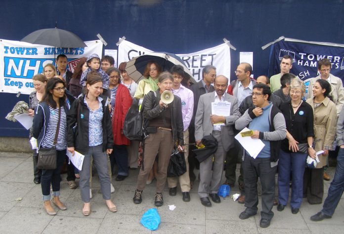 Doctors in Tower Hamlets during their national strike action in June 2012