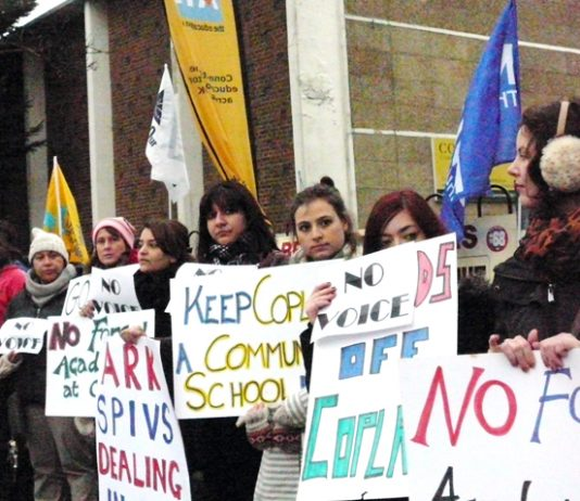 Copland school in Brent, north west London, where staff, parents and pupils are fighting the attempt to impose an academy