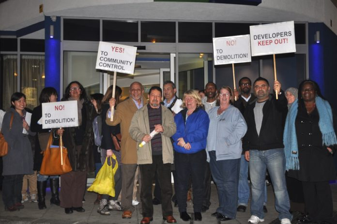 Tenants demonstrate against Hammersmith and Fulham council's plans to demolish the West Kensington and Gibbs Green estates to make way for private redevelopment