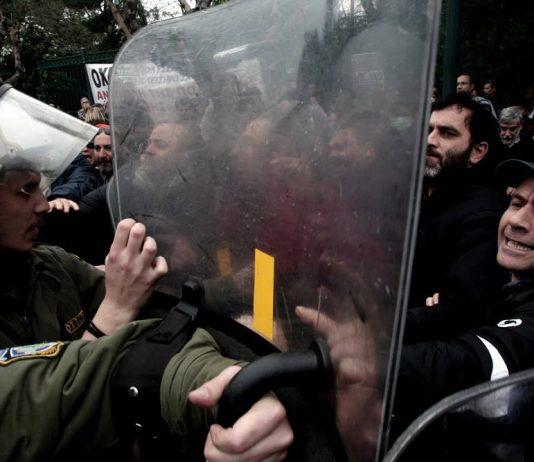 Riot police attacking teachers in Athens  Photo credit: M. Lolos