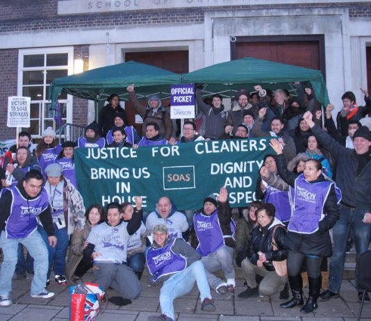 Student and lecturers came out in support of cleaners at SOAS during yesterday's mass picket