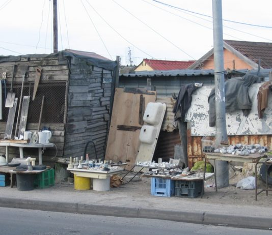 Most workers in South Africa live in shanty dwellings