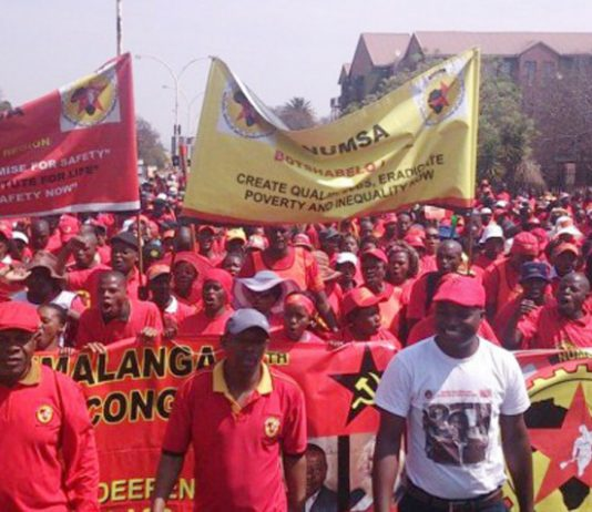 NUMSA members on a demonstration, demanding better wages, terms and conditions