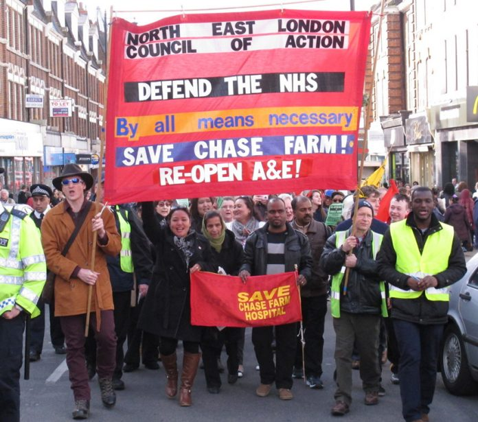 Saturday afternoon's march through Enfield demanding the immediate reopening of Chase Farm Hospital's A&E which won a huge response