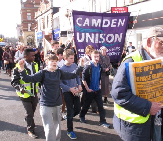 Young Enfield residents enthusiastically joined the march through Enfield town centre