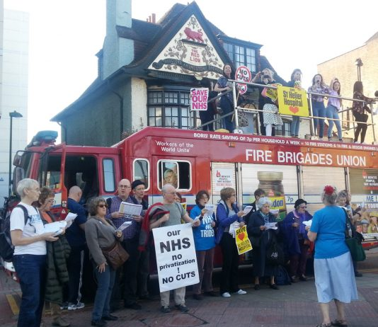 Demonstration to stop the closure of St Helier Hospital in Sutton on Sunday, with support from the Fire Brigades Union Photo credit: MILENA