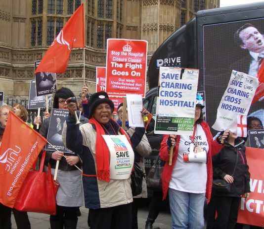 Save Charing Cross campaigners at the Unite lobby of parliament against Clause 119 of the Care Bill which gives the government sweeping powers to close hospitals without consultation