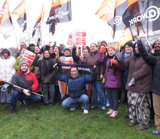 Ealing Hospital strikers employed by contractor Medirest in determined mood during their last 48-hour pay strike