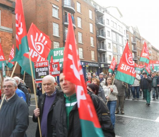 SIPTU workers on the ICTU demonstration against austerity through Dublin in February 2013