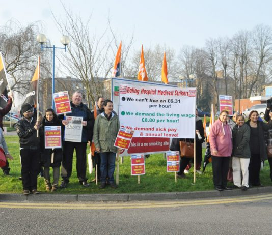 GMB Medirest strikers at Ealing Hospital early on Friday morning – the first day of their seven-day strike