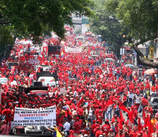 Venezuelan workers on a May Day demonstration