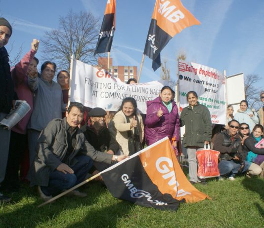 Confident GMB Medirest strikers on the second day of their seven-day strike at Ealing Hospital yesterday morning