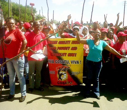 COSATU members demonstrate for quality jobs