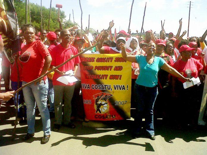 COSATU members demonstrate for quality jobs