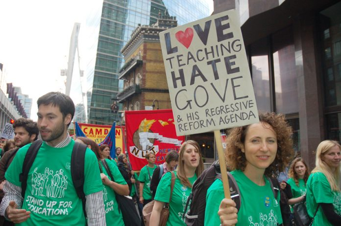 The NUT on the march through central London during their strike last year
