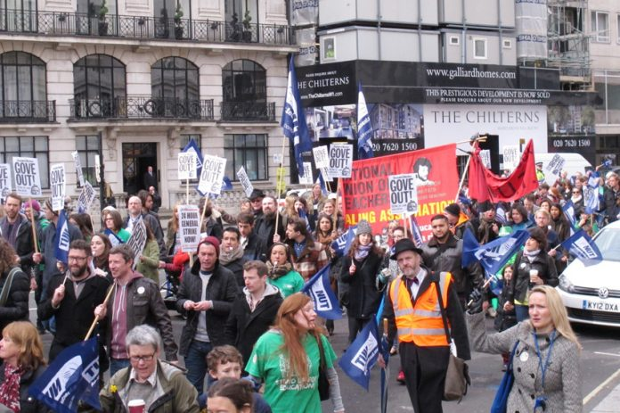 A section of the over 11,000-strong NUT demonstration in London on Wednesday