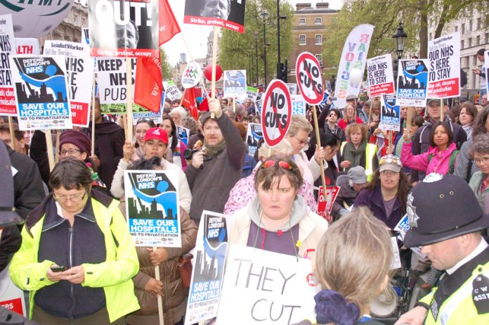 Demonstrators in London last May determined to defend the NHS