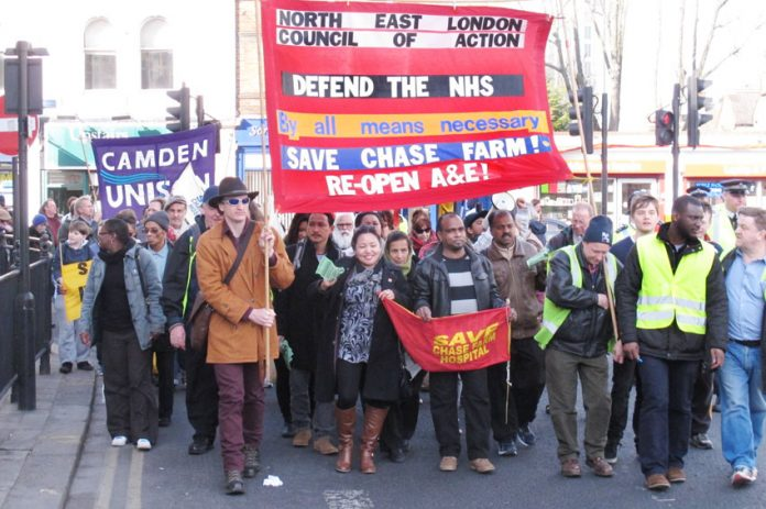 North East London Council of Action march in Enfield last month demanding that Chase Farm Hospital's A&E be reopened