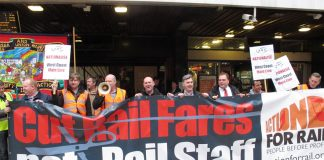RMT members calling for the renationalisation of the West Coast Mainline trains . . . they now call for the East Coast Mainline to remain nationalised