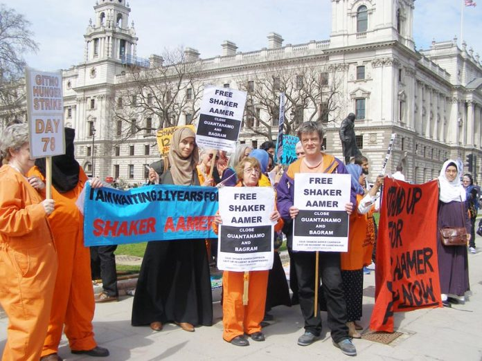 Demonstration in Parliament Square demanding the release of Shaker Aamer from Guantanamo