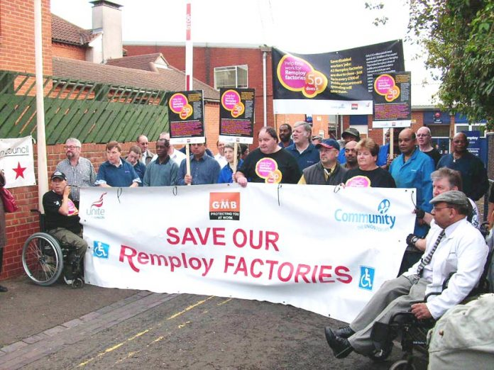 Demonstration against the closure of the Brixton Remploy factory – Miller closed dozens of them