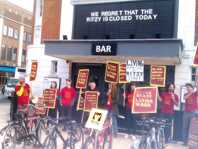 Striking Bectu members on the picket line outside the Ritzy Cinema in Brixton on Friday morning