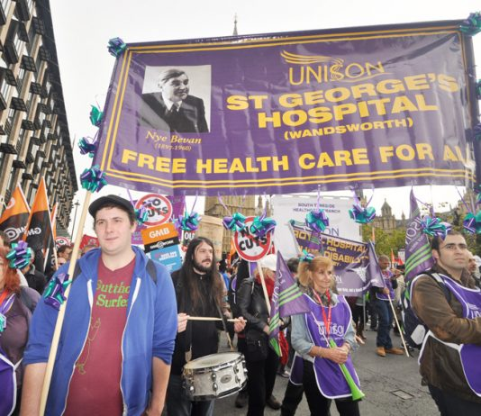 Unison healthworkers from St Georges Hospital on a TUC demonstration – they demand more staff or patients will die