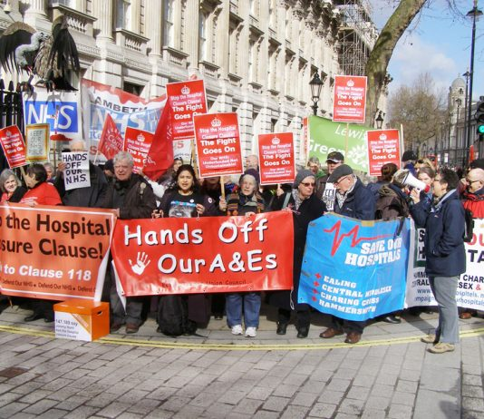 Protesters campaigning against the notorious claiuse 118/119 that allows Health Secretary Hunt to close hospitals at will