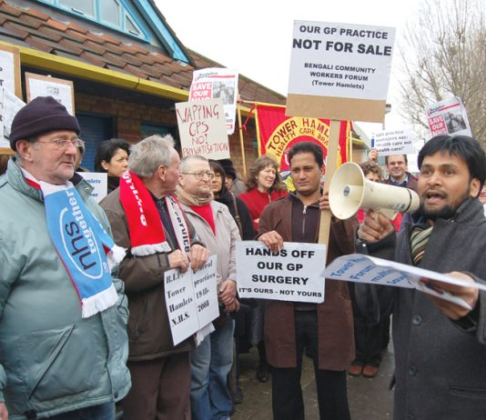 An earlier demonstration against the privatisation of GP surgeries in Tower Hamlets – now they are to be closed