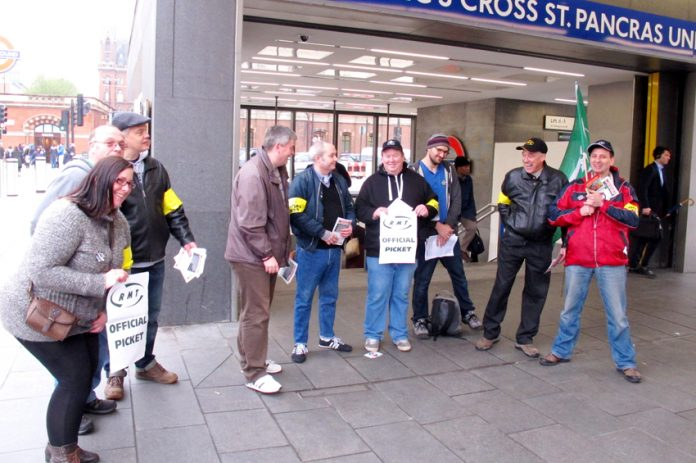 Morale was very high on the RMT picket line at Kings' Cross St Pancras station