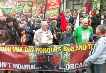 Thousands of workers saluted the memory of Bob Crow as a working class fighter on yesterday's May Day march