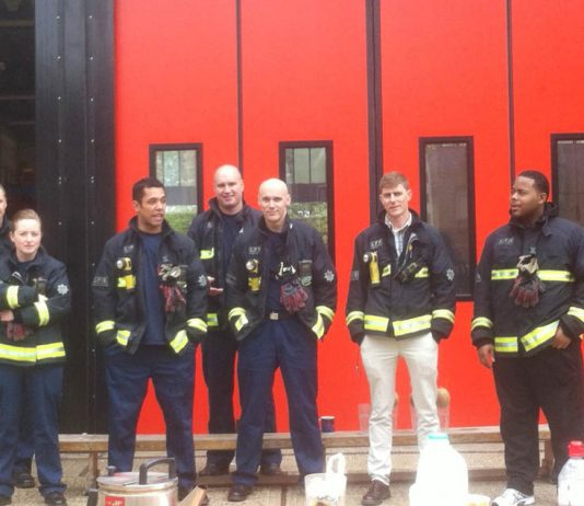 Striking firefighters at Holloway Fire Station, Hornsey Road on the picket line yesterday mid-day