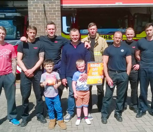 Crawley firefighters during Saturday's strike action