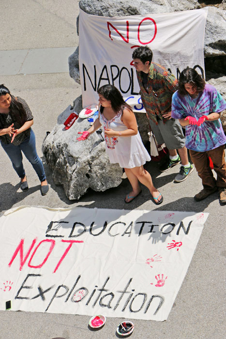 Students on May Day demanding the resignation of University of California president Janet Napolitano