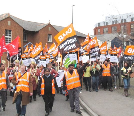 Carillion workers in Swindon marching during their strike against bullying and blacklisting