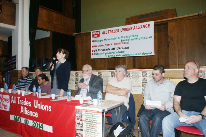 The platform at Saturday's News Line-All Trades Unions Alliance conference with SHEILA TORRANCE, Unite, opening the conference