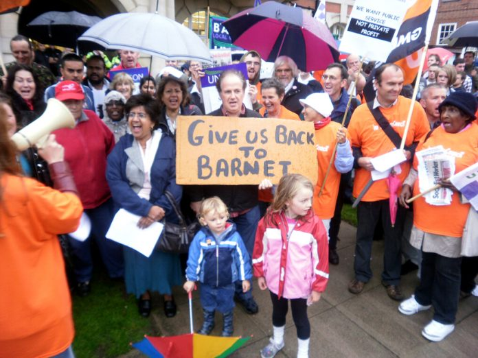 Demonstration in Barnet against the sell-off of all the council's services