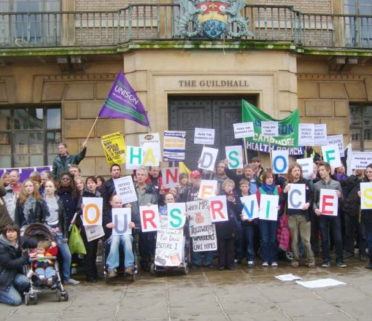 Demonstration against council cuts outside the Guildhall in Cambridge