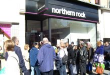Queues outside Northern Rock bank after the 2008 collapse