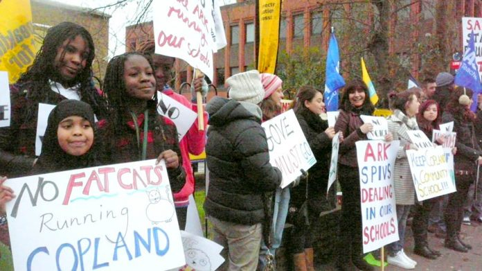 Copland School in Wembley, London – parents, teachers and pupils are determined not to be forced into an academy