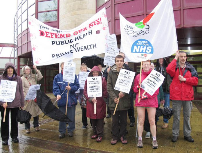 'KEEP THE NHS FREE' demonstrators greet delegates to the GP conference in York – delegates voted for that policy